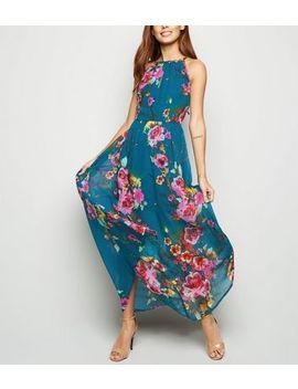 Blue Vanilla Green Floral Halterneck Maxi Dress by New Look