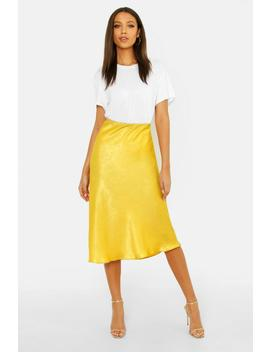 Tall Bias Cut Satin Midi Skirt by Boohoo