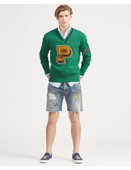 Cotton Blend Letterman Sweater by Ralph Lauren