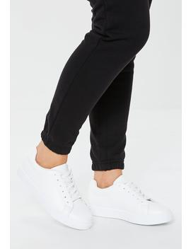 White Solid Colour Lace Up Trainers by Missguided