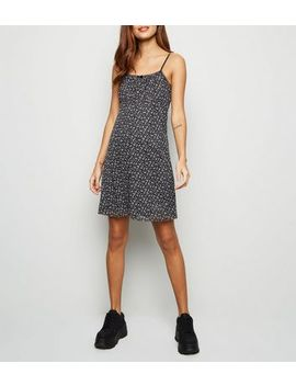 Black Ditsy Floral Mesh Mini Dress by New Look