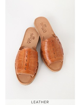 Lawrin Natural Leather Huarache Sandals by Sbicca