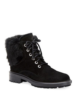 Aquatalia Lacy Suede Combat Boots W/ Fur Trim by Aquatalia
