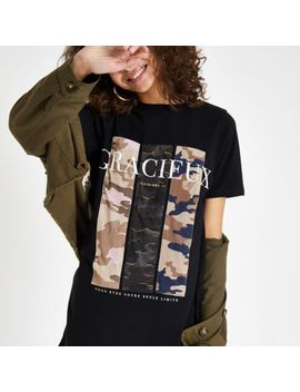 Black 'Gracieux' Camo Print T Shirt by River Island