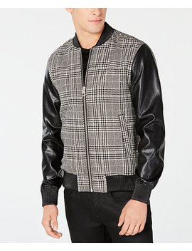 Men's Mixed Media Plaid Bomber Jacket by Guess