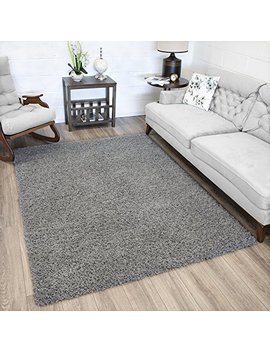 """Ottomanson Soft Cozy Grey Shag Rug Contemporary Living And Bedroom Soft Shaggy Area Rug (6'7"""" X 9'3"""") by Ottomanson"""