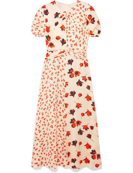 Paneled Floral Print Satin Jacquard Midi Dress by Self Portrait