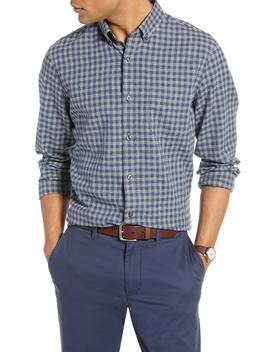 Button Down Heather Gingham Linen Blend Sport Shirt by 1901