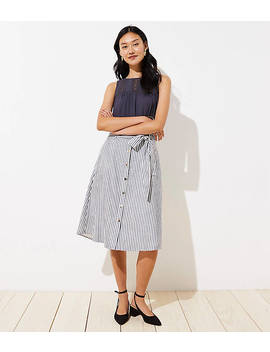 Petite Striped Tie Waist Button Front Skirt by Loft