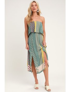 Koi Sage Green Multi Striped Strapless Midi Dress by O'neill
