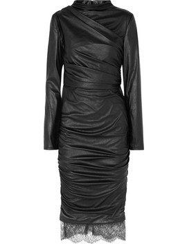 Lace Trimmed Cutout Ruched Faux Leather Dress by Tom Ford