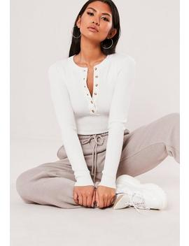 White Rib Button Round Neck Bodysuit by Missguided