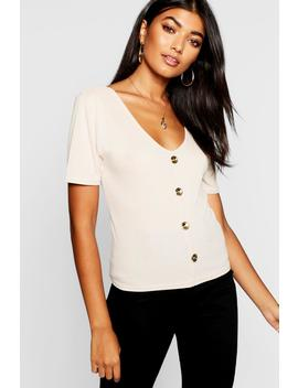 Gold Button Up V Neck Top by Boohoo