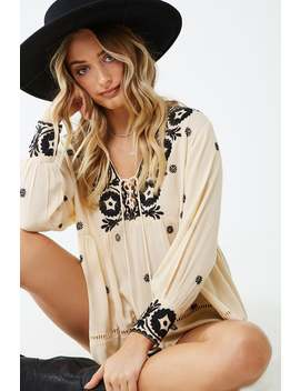 Z & L Europe Embroidered Babydoll Top by Forever 21