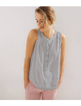 Petite Striped Henley Mixed Media Shell by Loft