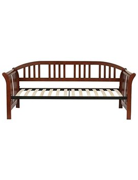 Leggett & Platt Salem Complete Wood Daybed With Euro Top Spring Support Frame And Sleigh Style Arms, Mahogany Finish, Twin by Fashion Bed Group
