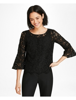 Floral Lace Bell Sleeve Blouse by Brooks Brothers