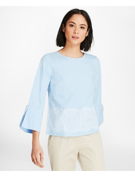 Lace Trimmed Striped Cotton Poplin Bell Sleeve Blouse by Brooks Brothers