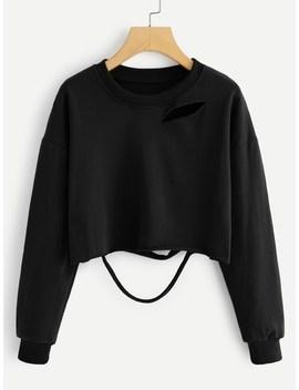 Ripped Detail Solid Sweatshirt by Sheinside