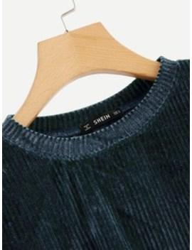 Drop Shoulder Solid Velvet Pullover by Shein
