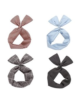 Twist Bow Wired Headbands Scarf Wrap Hair Accessory Hairband By Sea Team (4 Packs) by Sea Team