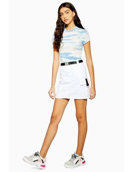 White Silver Clip Denim Skirt by Topshop