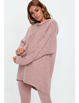 Petite Pink Ribbed Knitted Co Ord Hoodie Sweater by Missguided