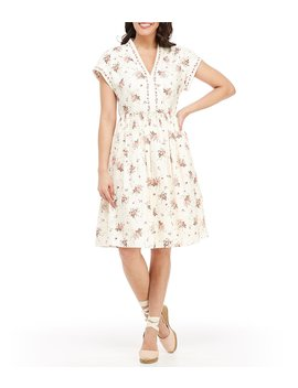 Cecily Floral Print V Neck A Line Dress by Gal Meets Glam Collection
