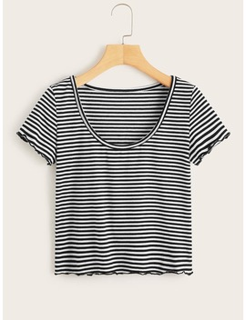 Striped Lettuce Frill Tee by Romwe