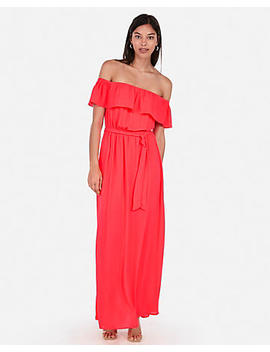 Off The Shoulder Tie Front Maxi Dress by Express