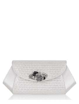 Porto Silver Flap Embellished Clutch Bag by Ruby Shoo