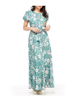 Petite Size Shannon Floral Print Puff Sleeve Tie Waist Maxi Dress by Gal Meets Glam Collection