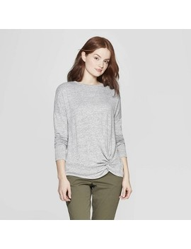 Women's Easy Fit Long Sleeve Crewneck Banded Collar T Shirt   A New Day™ by A New Day