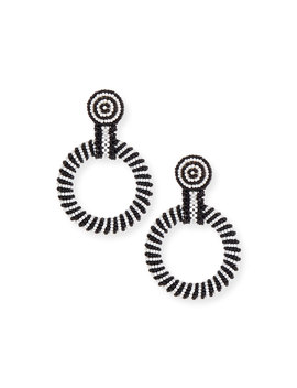 Gypsy Hoop Drop Earrings, Black/White by Kenneth Jay Lane