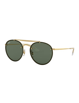 Round Lens Over Frame Metal Sunglasses by Ray Ban