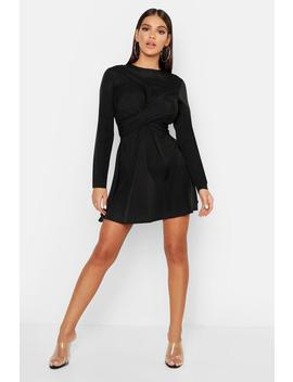 Twist Front Mini Dress by Boohoo