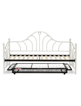 Leggett & Platt Emma Complete Metal Daybed With Euro Top Spring Support Frame And Pop Up Trundle Bed, Antique White Finish, Twin by Fashion Bed Group