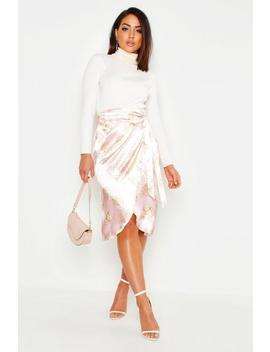 Satin Scarf Print Wrap Tie Midi Skirt by Boohoo