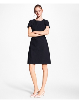 Stretch Cotton Jacquard Shift Dress by Brooks Brothers