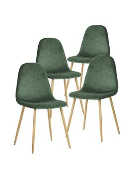 Green Forest Dining Chairs For Kitchen,Elegant Velvet Back And Cushion, Mid Century Modern Side Chairs Set Of 4,Cactus by Green Forest