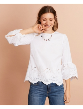 Eyelet Detail Cotton Poplin Bell Sleeve Blouse by Brooks Brothers