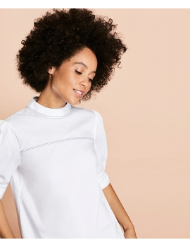 Pickstitched Poplin Puff Sleeve Blouse by Brooks Brothers