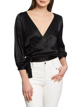 Satin Wrap Blouse by 1.State