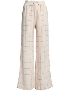 Checked Linen Wide Leg Pants by Zimmermann