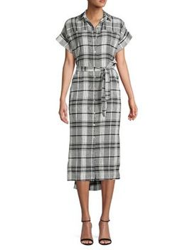 Plaid Button Front Belted Dress by Jones New York