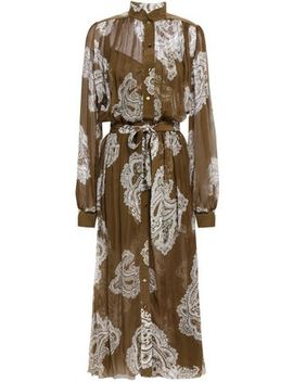 Gathered Printed Silk Georgette Midi Dress by Zimmermann