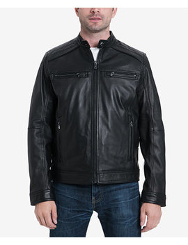 Men's Perforated Leather Moto Jacket, Created For Macy's by Michael Michael Kors
