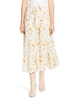 Lyla Floral Cotton & Linen Midi Skirt by Loveshackfancy