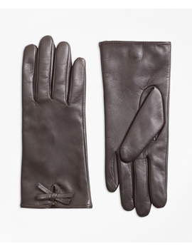 Bow Trimmed Leather Gloves by Brooks Brothers