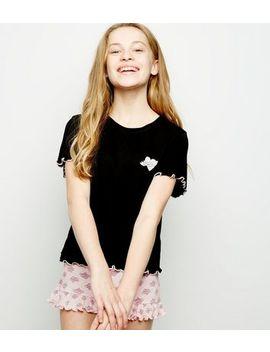 Girls Black Heart Print Slogan Pyjama Set by New Look